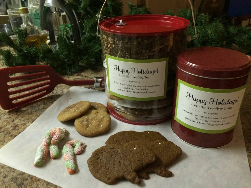 Treefrog's homemade holiday gifts. Featuring salted caramel snickerdoodles, gingerbread frogs, and TCX brand candy cane cookies.