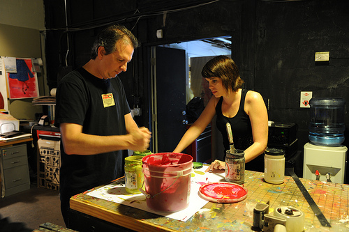 Jeff and Sarah mix the ink that we'll be using. All the inks are custom mixed to the desired color.