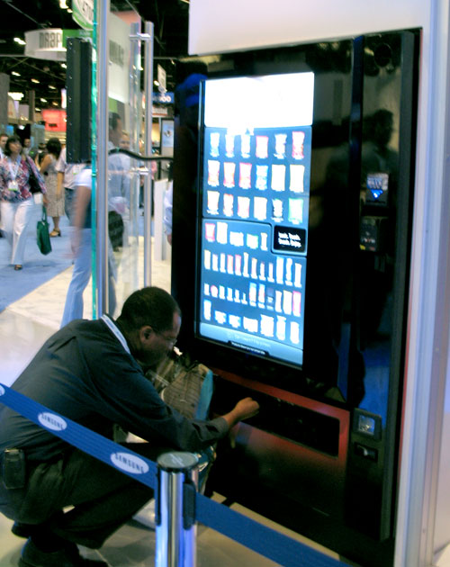 Here's a touch screen vending machine at the Samsung booth