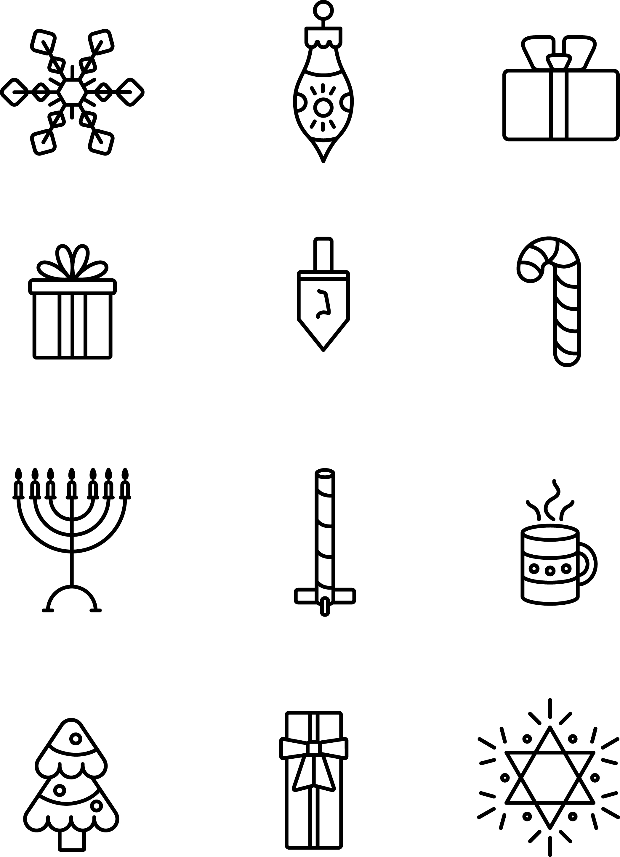 free simple holiday line icons