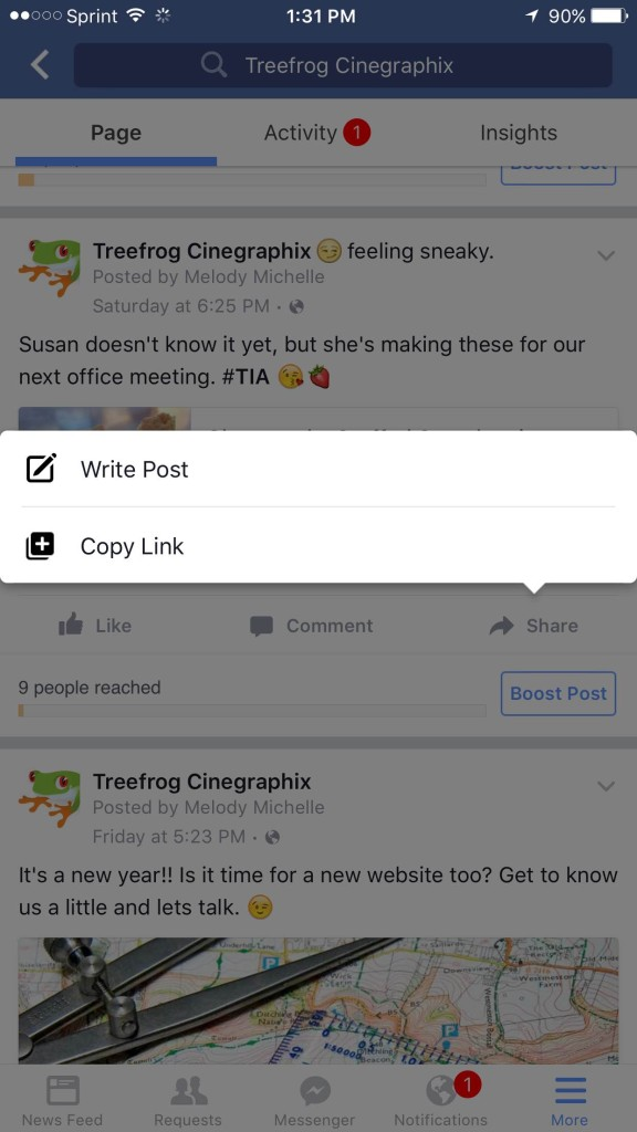 Share Facbook Posts on mobile